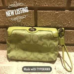 Coach Signature C Lime Green Turnlock Wristlet